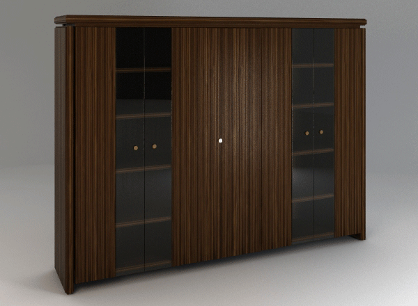 Шафа висока 5-дверна зі скляними фасадами і гардеробом 84ШД05