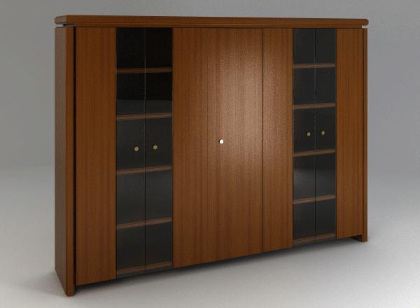 Шафа висока 5-дверна зі скляними фасадами 84ШД06